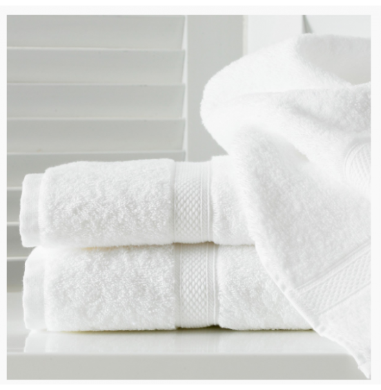 10 x WHITE COTTON TOWELS 600GSM  HONEYCOMB HEADER