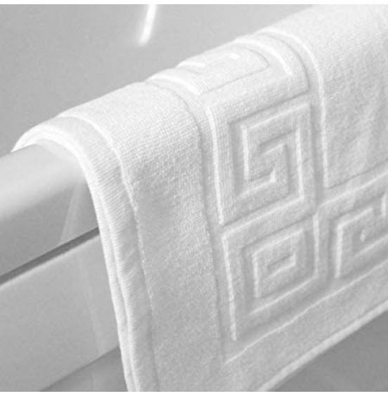 10 x STANDARD WHITE BATH MAT 700GSM GREEK KEY